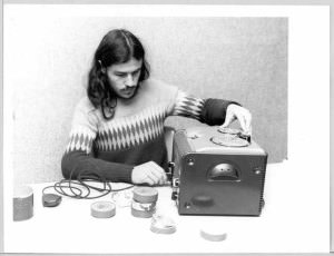 Ian Gilmour operates wire sound recording equipment, c1980. NFSA title: 565994