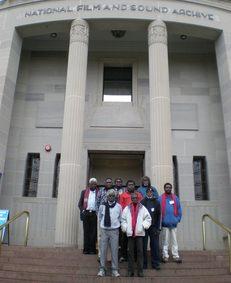 Arnhem Land elders delegation on the steps of the NFSA headquarters, June 2008.