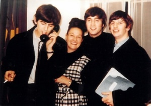 Binny Lum with the Beatles in London, April 1964 Photo by Geoff Charter. Courtesy of Geogg Charter and Sharon Terry Title 1219635