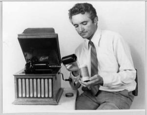 Peter Burgis with Edison phonograph, and  wax cylinder,1979. NFSA Title: 566059